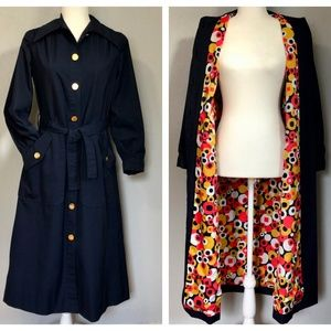 Vintage 60s Handmade Navy Button Down Trench Coat